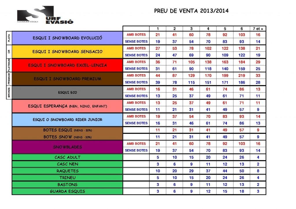 TARIF PUBLIC 2014